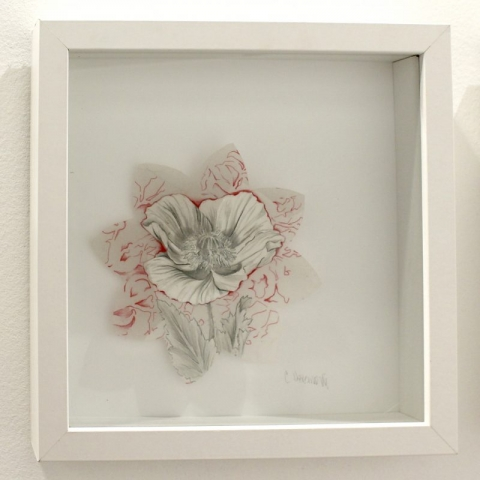 "Connie Arismendi,  Small Things (Poppy), Mixed media, 12"" x 12"""