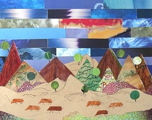 "Phyllis Finley, Out West, collage, 18"" x 21"""